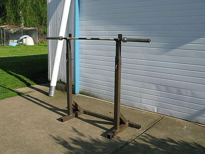 Homemade steel squat stands crazy homemade for Diy squat stands