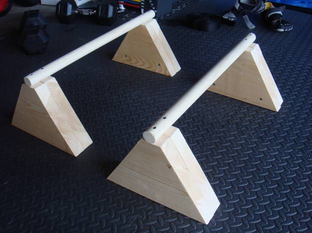 Homemade Wood Parallettes $12